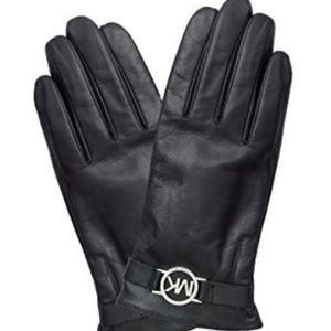 Michael Kors Leather Gloves Logo Touch Tech Sz. L